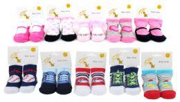 120 Bulk Assorted Boy's & Girl's Graphic Baby Socks - Sizes 0-12M & 12-24M