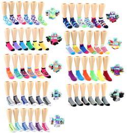 120 Bulk Boy's & Girl's Toddler Low Cut Novelty Socks - Assorted Prints - Size 2-4