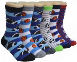480 Bulk Boy's & Girl's Novelty Crew Socks - Sports Print - Size 4-6