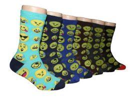 480 Bulk Boy's Novelty Crew Socks - Emoji Prints - Size 6-8