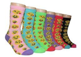 480 Bulk Girl's Novelty Crew Socks Emoji Prints