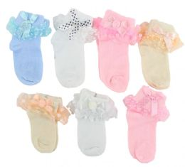 48 Bulk Girl's Lace Cuff Ankle Socks - White - Ages 6-12