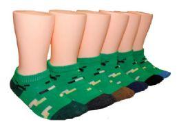 480 Bulk Toddler's Low Cut Novelty Socks - Pixel Camoflauge Print - Size 2-4