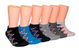 480 Bulk Boy's & Girl's Low Cut Novelty Socks Pixel Print