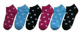 480 Bulk Boy's & Girl's Low Cut Novelty Socks - Polka Dot Print - Size 4-6