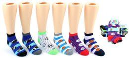 24 Units of Boy's & Girl's Low Cut Novelty Socks - Sport Print - Size 6-8 - Boys Ankle Sock