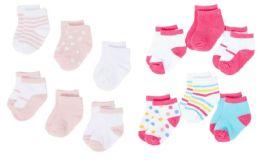 432 Bulk Girl's Knit Graphic Baby Socks