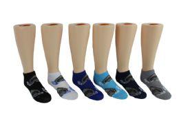 24 Bulk Boy's & Girl's Novelty Low Cut Socks - Shark Print - Size 6-8