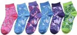 24 Bulk Boy's & Girl's Novelty Crew Socks - Tie Dye - Size 4-6