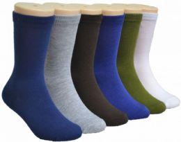 480 Bulk Boy's & Girl's Novelty Crew Socks - Solid Colors - Size 6-8