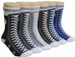 480 Bulk Boy's & Girl's Novelty Crew Socks - Sneaker Print - Size 6-8