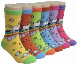 480 Bulk Boy's & Girl's Novelty Crew Socks - Pony Print - Size 6-8