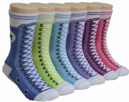 480 Bulk Boy's & Girl's Novelty Crew Socks - Colorful Sneaker Print - Size 6-8