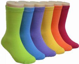 480 Bulk Boy's & Girl's Novelty Crew Socks Solid Colors