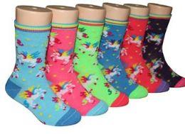 480 Bulk Boy's & Girl's Novelty Crew Socks - Unicorn Prints - Size 4-6