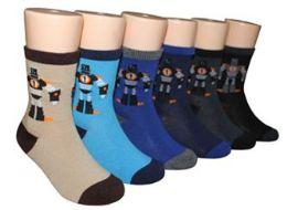 480 Bulk Boy's & Girl's Novelty Crew Socks Robot Prints