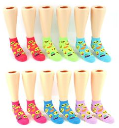 24 Bulk Boy's & Girl's Low Cut Novelty Socks - Emoji Prints - Size 6-8