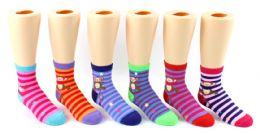 24 Bulk Boy's & Girl's Novelty Crew Socks - Monkey Prints - Size 4-6