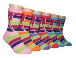 480 Bulk Boy's & Girl's Novelty Crew Socks - Striped Prints - Size 6-8