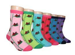 480 Bulk Boy's & Girl's Novelty Crew Socks - Lady Bug - Size 6-8