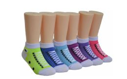480 of Girl's Novelty Low Cut Socks Sneaker Print
