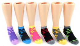 24 Bulk Boy's & Girl's Novelty Low Cut Socks - Star Print - Size 4-6