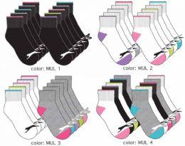 120 Bulk Girl's Athletic Ankle Socks - Solid Colors Size 6-8