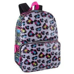 """24 Units of 17 Inch Leopard Sequin Backpack - Backpacks 17"""""""