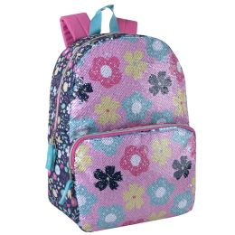 """24 Units of 17 Inch Daisy Sequin Backpack - Backpacks 17"""""""