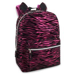 """24 Units of 17 Inch Pink Zebra Print Backpack - Backpacks 17"""""""
