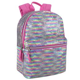 """24 Units of 17 Inch Mini Multi Colored Sequin Backpack - Backpacks 17"""""""