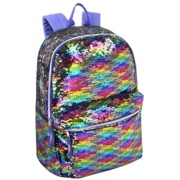 """24 Units of 17 Inch Rainbow Colored Sequin Backpack - Backpacks 17"""""""