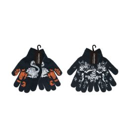 72 Units of Boy's Printed Stretch Magic Gloves - Knitted Stretch Gloves