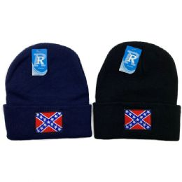 48 Units of Embroidered Knitted Cuff Hat Rebel Flag - Winter Hats