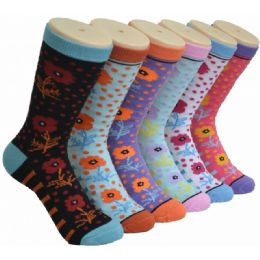 360 Units of Ladies Floral Printed Crew Socks Size 9-11 - Womens Crew Sock