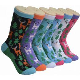 360 Units of Ladies Reindeer Printed Crew Socks Size 9-11 - Womens Crew Sock