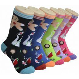 360 Units of Ladies Ginger Bread Man Printed Crew Socks Size 9-11 - Womens Crew Sock