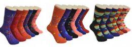 360 Units of Ladies Assorted Print Crew Socks Size 9-11 - Womens Crew Sock