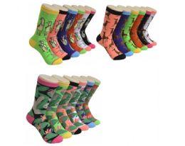 360 Units of Ladies Animal Variety Printed Crew Socks Size 9-11 - Womens Crew Sock