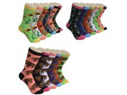 360 Units of Ladies Outdoor Variety Printed Crew Socks Size 9-11 - Womens Crew Sock