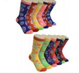 360 Units of Ladies Floral Variety Printed Crew Socks Size 9-11 - Womens Crew Sock