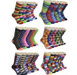 360 Units of Ladies Variety Printed Crew Socks Size 9-11 - Womens Crew Sock