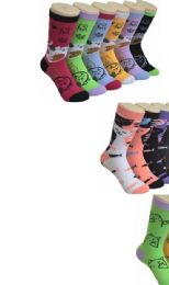 360 Units of Ladies Cat Variety Printed Crew Socks Size 9-11 - Womens Crew Sock