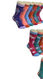 360 Units of Ladies Mysterious Variety Printed Crew Socks Size 9-11 - Womens Crew Sock