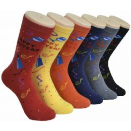 360 Units of Ladies Happy New Year Printed Crew Socks Size 9-11 - Womens Crew Sock