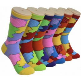 360 Units of Ladies Assorted Color Printed Crew Socks Size 9-11 - Womens Crew Sock