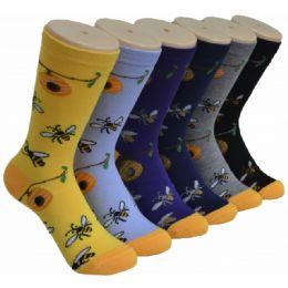 360 Units of Ladies Floral Bee Printed Crew Socks Size 9-11 - Womens Crew Sock