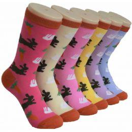 360 Units of Ladies Bunny Printed Crew Socks Size 9-11 - Womens Crew Sock