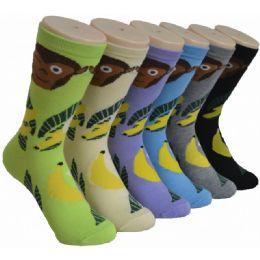 360 Units of Ladies Monkey Banana Printed Crew Socks Size 9-11 - Womens Crew Sock