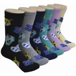 360 Units of Ladies Cat Printed Crew Socks Size 9-11 - Womens Crew Sock
